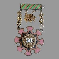 Vintage Gold PINK & GREEN Ename Striped PIN Medal 50 YEAR Award-ODDFELLOWS Illinois
