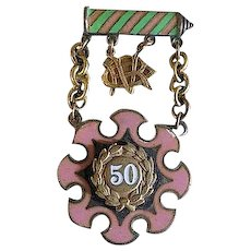 Vintage Gold PINK & GREEN Ename Striped PIN Medal 50 YEAR Award-ODDFELLOWS Illinois