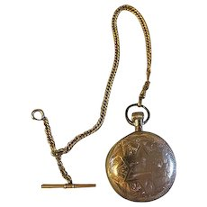 Antique 14k Gold filled Mens Elgin large Pocket watch with chain