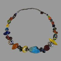 Womens chunky artist made Glass and turquoise necklace