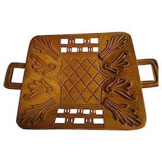 Vintage Hand Carved African wooden Tray Basket