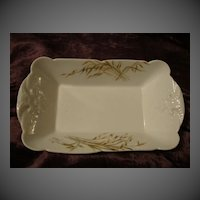 Antique French porcelain  CFH/GDM hand painted c1888 butterfies & wheat vegetable dish