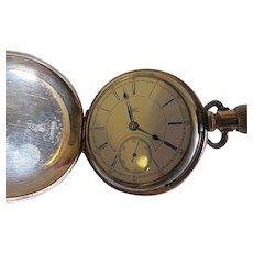 Antique Rare Hampden D&star in flag Ohio #876420 Pocket watch Deuber case
