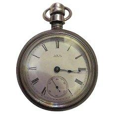 Antique Wm.Ellery Sterling Silver Case A.W.co Waltham Pocket watch