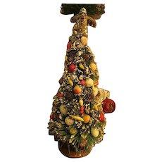 "Vintage Japan Large 14""flocked, bottle brush christmas  tree w painted fruit"
