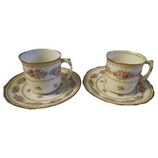Vintage Hand painted Porcelain Limoges France pair of tea cups