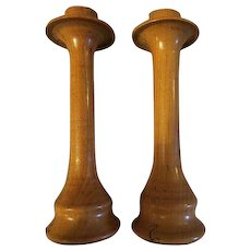 Vintage mid century hand turned wooden candle holders signed