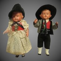 Vintage Adorable German Dolls in case all original hand painted