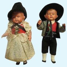 Vintage Adorable German Dolls in case all original hand painted
