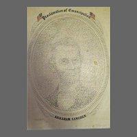 Abraham Lincoln Proclamation of emancipation Print Dayton Ohio 1919
