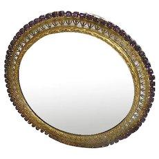 Vintage purple Rhine stone 1930s round Vanity mirror