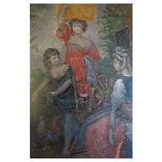 The Cottagers Hand tinted engraving on metal 19c Joshua Reynolds