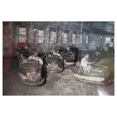 Vintage Black American 1960s Bumper Cars at Carnival orig PHOTOGRAPH