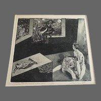 Vintage Erotic 2/10 Engraving signed Fine Art