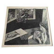 Vintage Erotic 2/10 Engraving signed Fine Art