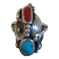 Womens Lucy C signed native american Indian sterling silver turquoise and Coral Ring