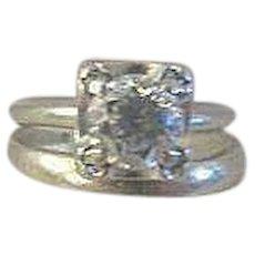 Antique 1910 Edwardian .75 solitaire Diamond engagement wedding set 14 Gold