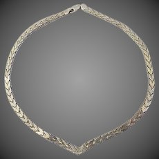 Sterling silver womens weaved Necklace 34g JCM .925 Italy
