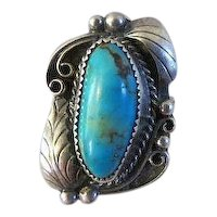 Vintage Native  American Indian sterling and turquoise RING signed MANYGOATS