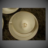 Antique Tea Leaf Ironstone China set of 3 cups & saucers tealeaf white & Gold