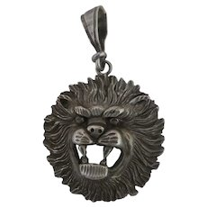 Vintage 1ofAKIND Sterling Silver large Lions head pendant
