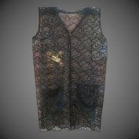 Vintage Womens Hand made Black Lace Top shirt vest or Blouse