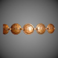 Vintage Art  Deco Copper Bracelet Womens Jewelry