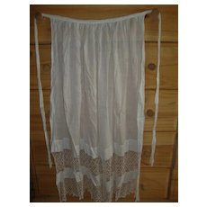 """Antique Victorian white hand made lace & cotton 38"""" womens apron"""