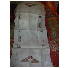 """Antique chinese Traders 32"""" runner hand embroidery fine silk thread 1800s"""