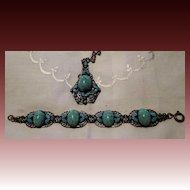 Vintage Art Nouveau bracelet & necklace set Glass Turquoise & enamel set in Brass