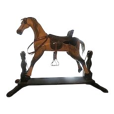 On Sale  ... Antique American AMERICANA Folk ART 1800s carved wood ROCKING HORSE