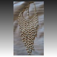 Amazing 1930s Vintage Simulated Pearl Bib Brides Necklace