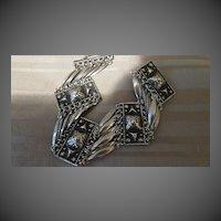 Vintage Mexican Silver wide Link Bracelet