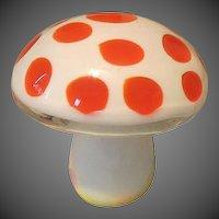 Vintage Art Glass Orange & white Polk a dot Mushroom
