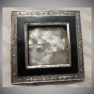Antique Victorian black enamel and silver Miniature Frame