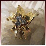 Vintage Gold Gilded Metal Crystal Flower Brooch