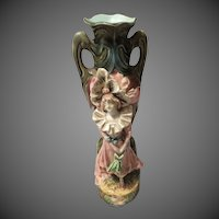 Antique Majolica vase  Figural  woman