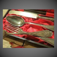 ON SALE  Antique Art Nouveau Silver Flatware in cases