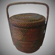 Antique Victorian Wicker Basket original Paint