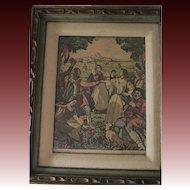 Antique Mihaly-Szemler mulatozok hand colored signed print