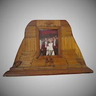 Antique Tramp Art Picture Frame Hand Made Craft