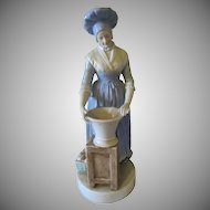 Antique porcelain figurine French Milk Maid with Dutch shoes