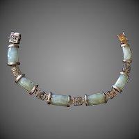 ON SALE Chinese Vintage jade bracelet with sterling silver links
