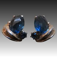 Signed Schiaparelli Blue Glass earrings Vintage 1950s