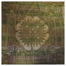 Antique Hand made coverlet tapestry throw 19c
