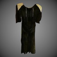 Vintage black velvet cream satin Dress
