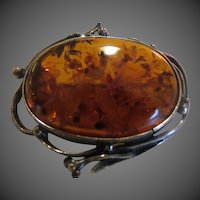 Vintage Sterling Silver and Amber Brooch