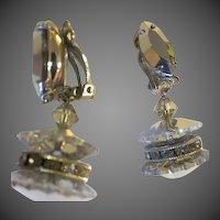 Vintage Lewis Segal crystal Glass dangle turning Earrings