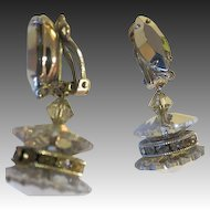 Vintage Lewis Segal crystal Glass dangle turning Earrings