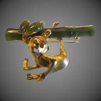 Swoboda Monkey Pin Brooch Precious Jade Gem Stones